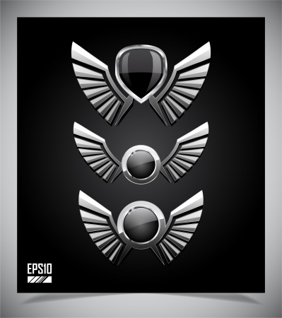 bio safety: Metal Shield emblem with wings. Vector illustration.