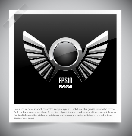Metal Shield emblem with wings. Vector illustration. Stock Vector - 16855182