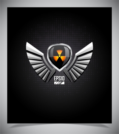 anti nuclear: Shield with skull and wings on a dark background.