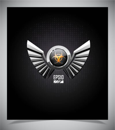 Shield with biohazard symbol and wings on a dark background. Vector