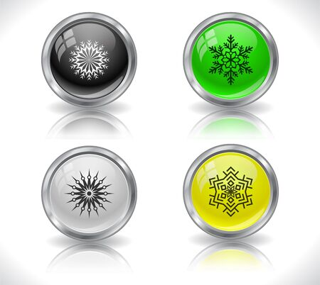 Cool color shiny metal web buttons. Vector illustration. Stock Vector - 16855126
