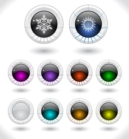 Cool color shiny plastic web buttons. Vector illustration. Stock Vector - 16855169