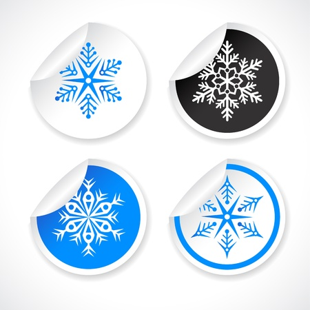 set of snowflake shapes on stickers Vector