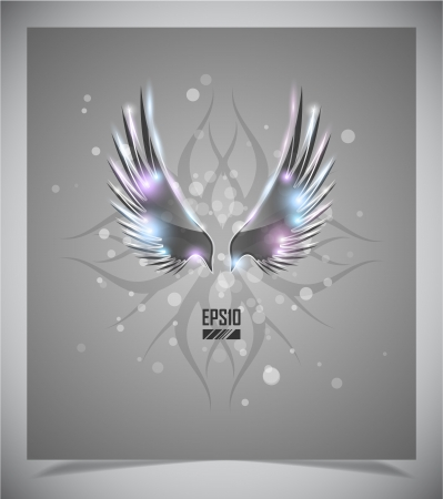 Abstraction grey background with glass  wings illustration Vector