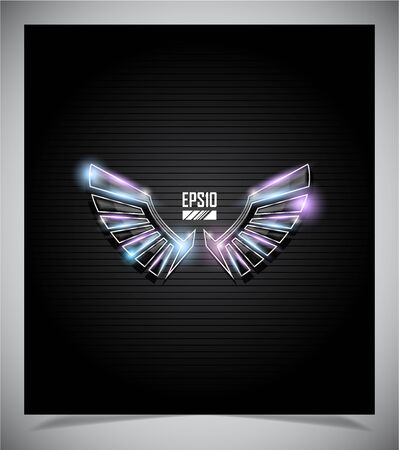 fragmentary: Abstraction dark background with glass  wings  illustration Illustration