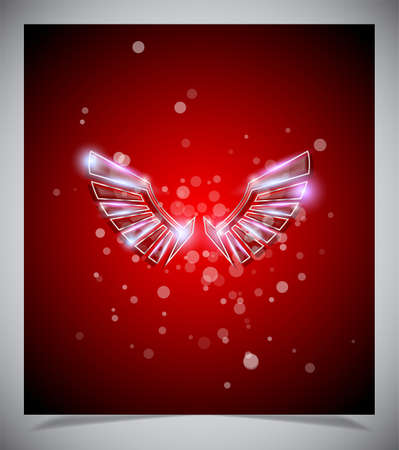 Abstract red background with glass  wings. Vector illustration Vector