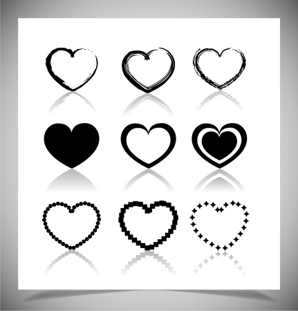 Set of simple heart icons. Vector illustration Vector