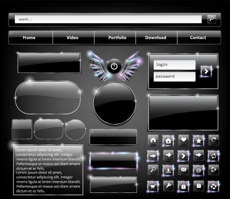 personal banking: Set di vetro Elementi Web, illustrazione vettoriale