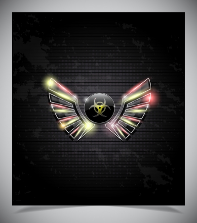 biohazard symbol: Badge with biohazard symbol and wings on a dark background. Illustration