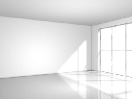 light white room with window, 3d render photo