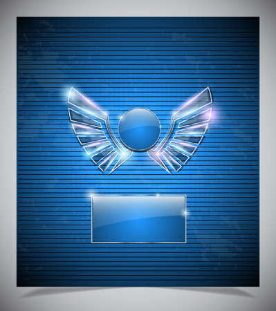 slovenly: Abstraction blue background with glass  wings. vector illustration