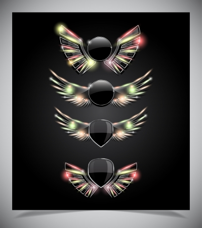 Metal Shield emblem with glass wings. Vector illustration. Vector