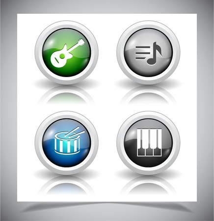 shiny buttons: Cool glass shiny buttons for web. Vector illustration.