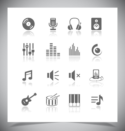 Set of grey music Icons.  Vector