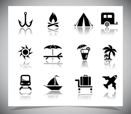 Set of black vacation Icons. Vector illustration Vector