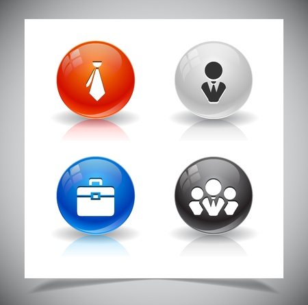 abstract glass balls with icons.  Vector
