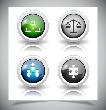 Set of abstract glass buttons. Vector illustration EPS10. Vector