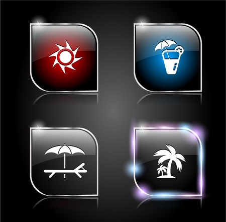 Set of glass buttons for web.  Vector