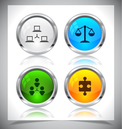 Cool color shiny metal web buttons. Vector illustration. Stock Vector - 21129752
