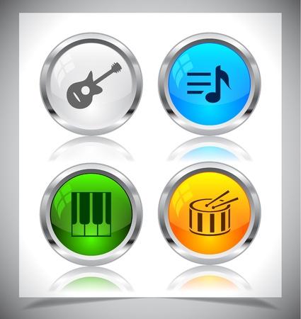 クールな色の光沢のある金属の web ボタン。ベクトルの図。