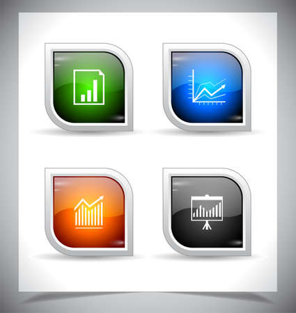 shiny buttons: Cool color shiny web buttons. Vector illustration.