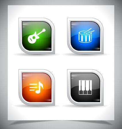 クールな色の光沢のあるウェブのボタン。ベクトルの図。
