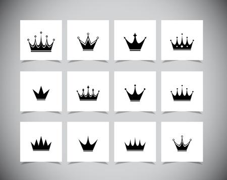 king crown: Set of black simple crowns. Vector illustration Illustration