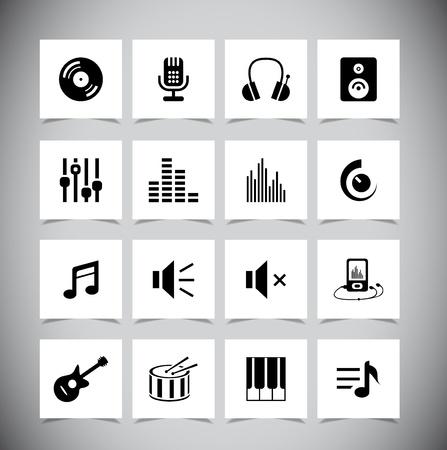 iconos de música: Conjunto de iconos musicales grises. Ilustraci�n vectorial Vectores