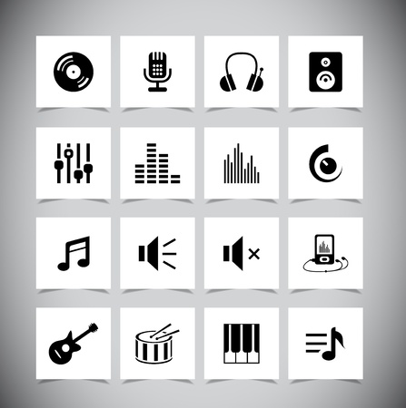 graphic equalizer: Set of grey music Icons. Vector illustration