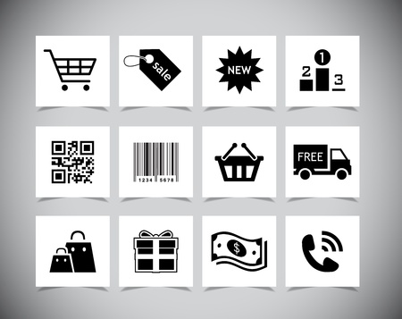 Set of simple black Shopping icons. Vector illustration Stock Vector - 21122355
