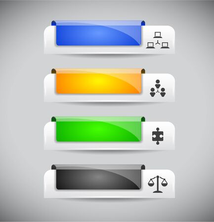 Set of color plastic buttons for web. Vector illustration. Vector