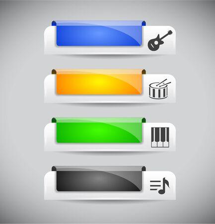 Web の色のプラスチックのボタンのセットです。ベクトル イラスト。