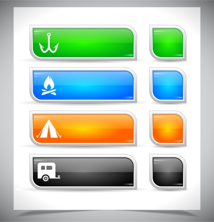 camping site: Set of color plastic buttons for web. Vector illustration.