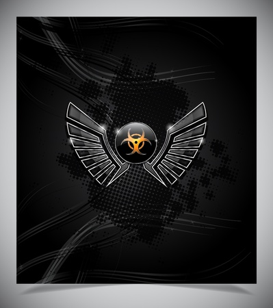 Badge with biohazard symbol and wings on a dark background. Vector