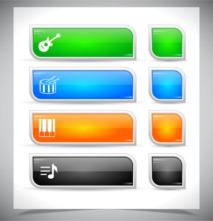 Web の色のプラスチックのボタンのセットです。