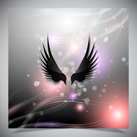 night bird: Abstract grey background with wings.