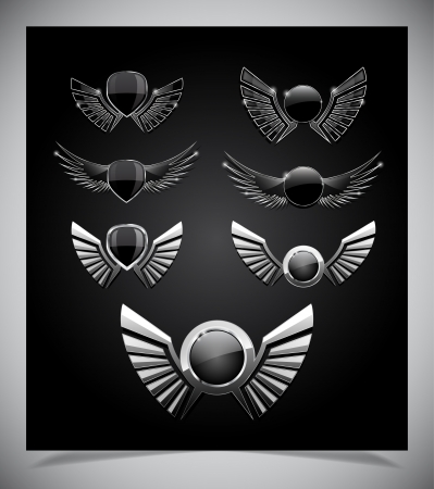death metal: Set of  emblemes  with wings.  Illustration
