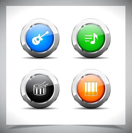 クールな色の光沢のある金属の web ボタン。  イラスト・ベクター素材