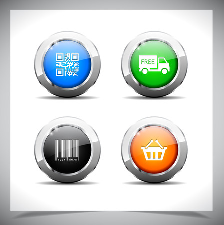 shiny buttons: Cool color shiny metal web buttons. Vector illustration.