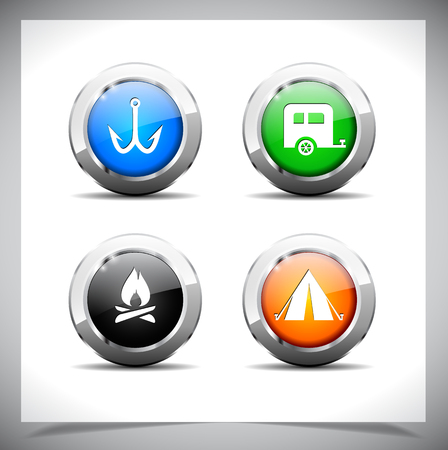 Cool color shiny metal web buttons.  Vector