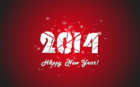 Happy new year 2014 text design. Vector illustration. Vector