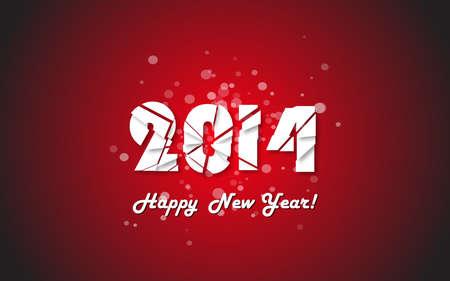 Happy new year 2014 text design. Vector illustration. Vector