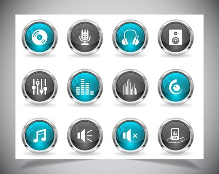 Cool color shiny metal web buttons. Vector illustration. Vector