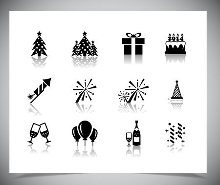 Set of black new year icons. Vector illustration. Vector