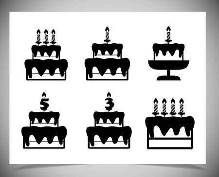 Set of Cake icons. Isolated on white background. Vector illustration Vector