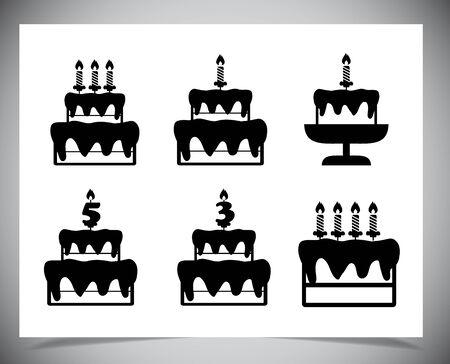 Set von Kuchen-Icons. Isoliert auf weißem Hintergrund. Vektor-Illustration