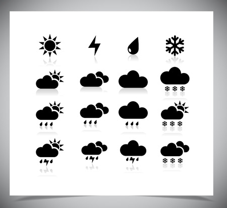 Set of black weather icons. Vector illustration. Vector