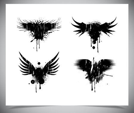 grunge wings: Set di grunge ali nere. Vectro illustrazione