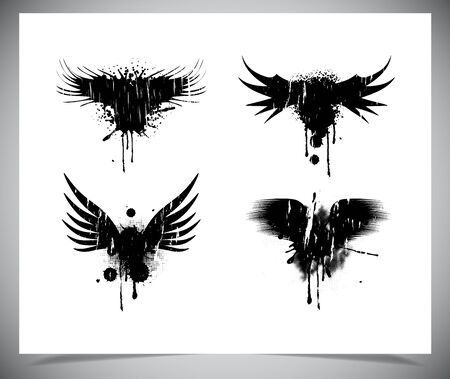 Set of black grunge wings. Vectro illustration Vector
