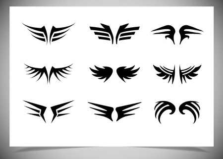 wings collection (set of wings). Vector illustration Vector